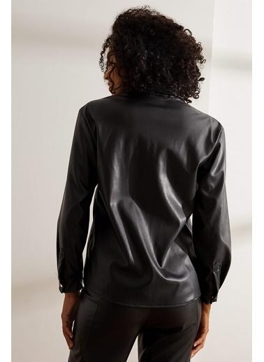 Setre Siyah Uzun Kol Çıtçıtlı Deri Gömlek Siyah